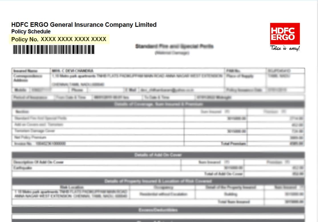 HDFC Ergo Private Car Renew Policy - Car Insurance ...