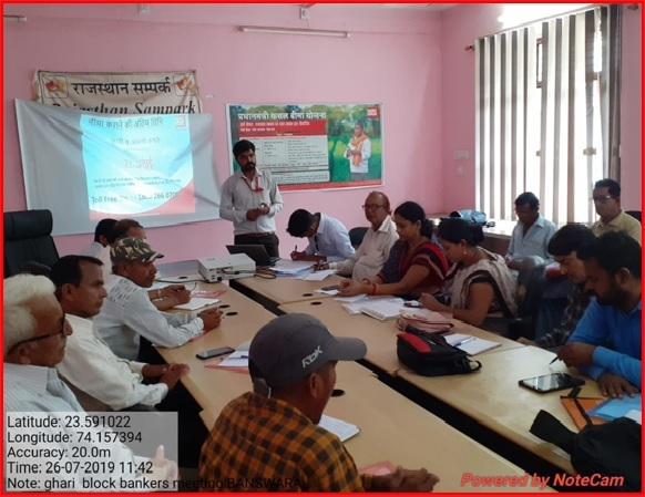 block level banker's meeting in banswara district rajasthan